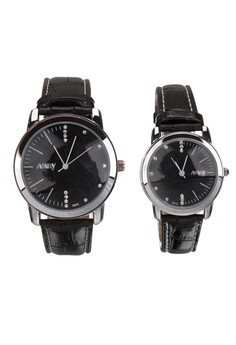 NARY Couple Leather Quartz Watch - 6072