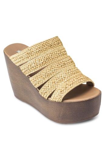 麻編esprit hk多帶木紋楔形涼鞋, 女鞋, 鞋