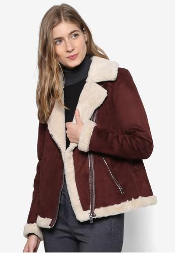zalora是哪裡的牌子滾邊人造皮毛騎士外套, 服飾, 服飾