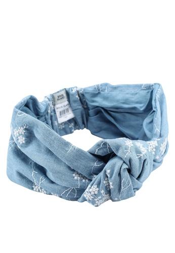 River Island blue Denim Embroidered Knot Head Band A509AACFEBD999GS_1