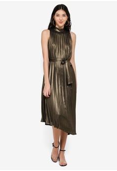 WAREHOUSE gold Foil Pleated Midi Dress 669F2AA825A6FAGS 1 42687edae