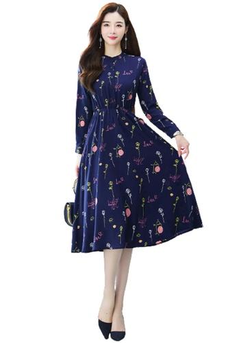 Halo navy Floral Printed Chiffon Dress 61459AA7B72186GS_1