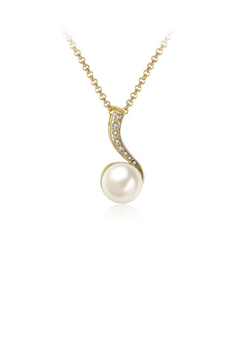 Glamorousky white Elegant and Fashion Plated Gold Pearl Pendant with Austrian Element Crystal and Necklace A46A5AC842EBC0GS_1