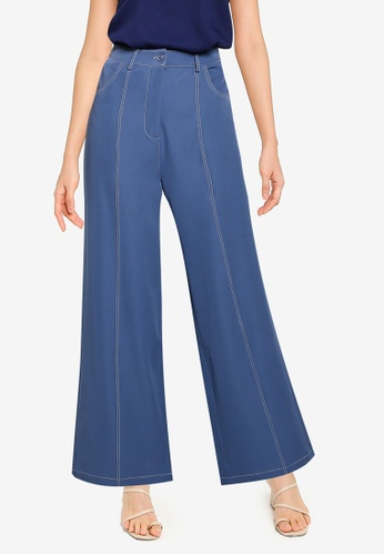 ZALORA BASICS blue High Waisted Pants With Pockets 92B36AA35CA585GS_1