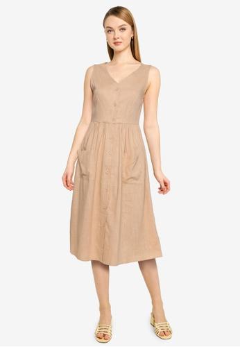 Nichii 米褐色 Sleeveless Front Button V-Neck Dress 0A27CAA0FC830EGS_1