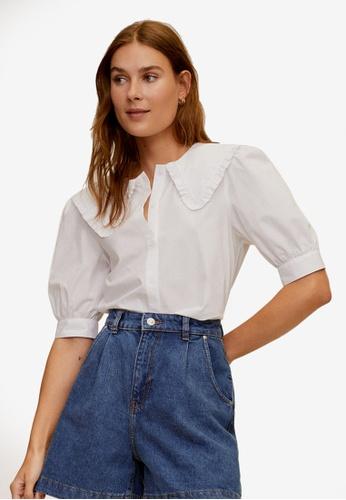 Mango white Double Babydoll Collar Shirt 4F691AA9B5131CGS_1