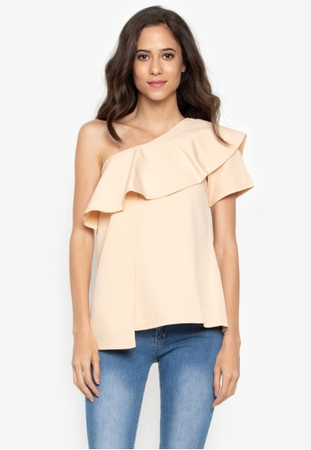 4c058f2c0880a0 Shop Kashieca One Shoulder Frill Top Online on ZALORA Philippines