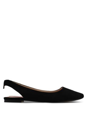Velvet black Microfiber Slingback Ballerina 890CDSHAFE640FGS_1