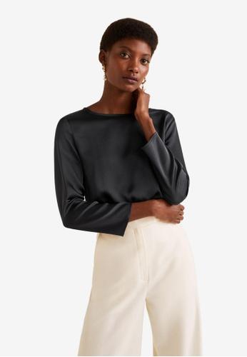 Mango 灰色 綢緞 長袖上衣 9ED96AA98715EEGS_1