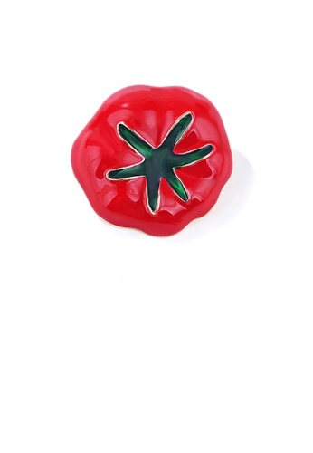 Glamorousky silver Fashion and Simple Plated Gold Enamel Tomato Brooch 72C20ACEAAEDD0GS_1