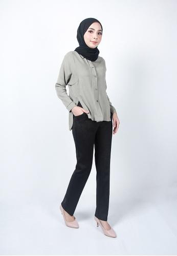 Ladies Jeans 黑色 彈性便裝式長褲 240FDAAA350A82GS_1