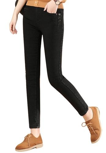 A-IN GIRLS black Elastic Waist Skinny Jeans (Plus Cashmere) F88E8AAAC8BBA7GS_1