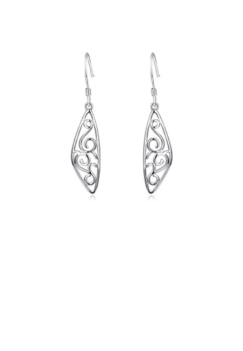 Glamorousky silver 925 Sterling Silver Fashion Simple Hollow Carved Geometric Earrings 22BBDAC0AEB082GS_1