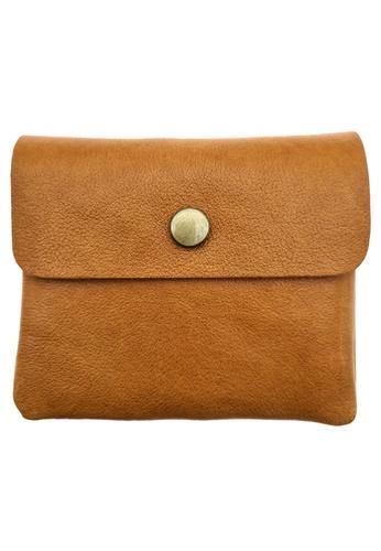 LUXORA brown and orange The Ninja Co. Compact Wallet - Full Grain Leather Cowhide - Coin Card Zipper Purse Men Women Gift Brown C195FAC09A52B0GS_1