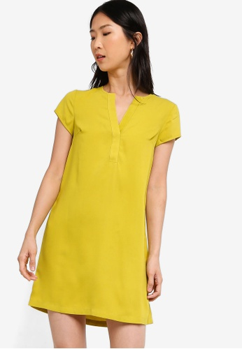 ZALORA BASICS yellow Basic Short Sleeves A-Line Dress 9B323AA2FB27AAGS_1