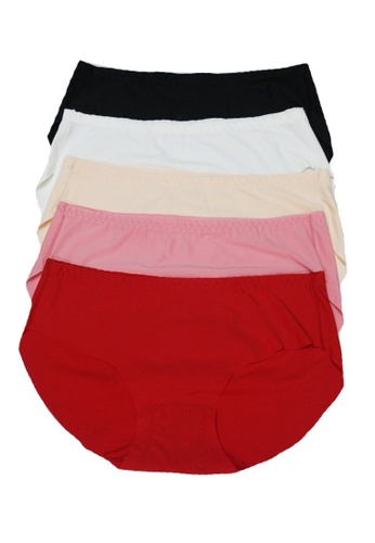 My Fame Diva black and white and red and pink and orange and beige 5 in 1 Multi Pack Seamless Comfort Boyshort MY698US91NLCMY_1