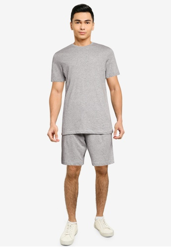 Brave Soul grey Crew Neck T-Shirt And Matching Shorts F1798AAE51F147GS_1