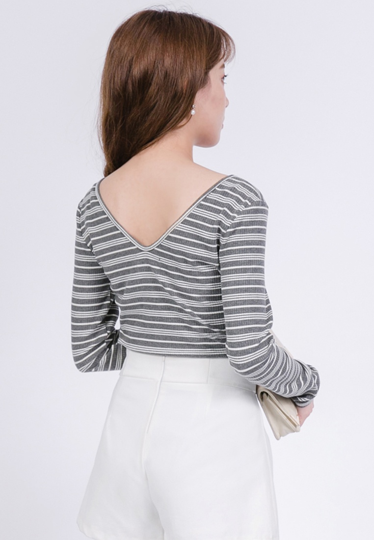 Striped Dark V Grey Top Yoco Neck gP7qxw17