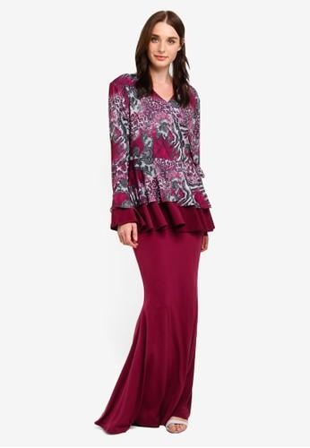 Zuco Fashion red Peplum W Kimono Style Top Dress AD08DAAB7A09FFGS_1