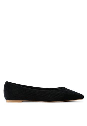 ZALORA black Velvet Embossed Ballerina Flats 8B251SH187ED21GS_1