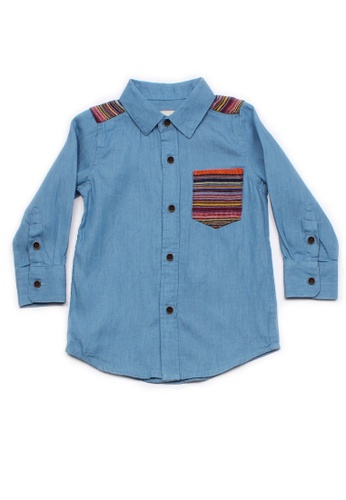 Mini Moley blue Aztec Embroidered Yoke Boy's Long Sleeve Shirt B0382KAECA1E05GS_1