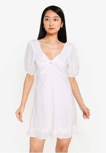 ZALORA BASICS white Knot Front Eyelet Dress DD23CAAE032BF0GS_1