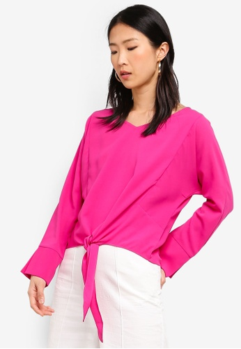 ZALORA BASICS pink Basic V-Neck Blouse With Knot Details EABA1AACB8F11CGS_1