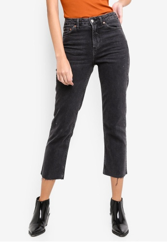 cf9f5c1dd5ccb TOPSHOP black Washed Black Raw Hem Straight Leg Jeans 2D824AADACD036GS 1