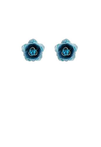 Glamorousky blue Blue Flower Earrings with Blue Austrian Element Crystals 2B0C6AC45C1E40GS_1