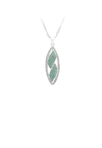 Glamorousky silver 925 Sterling Silver Leaf Pendant with White and Green Cubic Zircon and Necklace A87E2AC75997F6GS_1