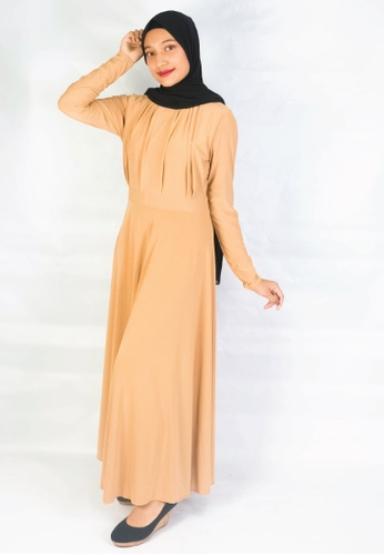 Zaryluq beige Lycra Wrap Dress in Golden Tan D9C61AA88372FAGS_1