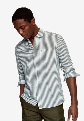 MANGO Man green Regular-Fit Striped Linen Shirt 513F4AAB1B0BBCGS_1