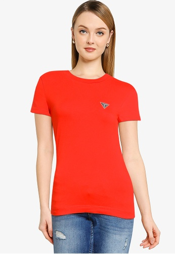 GUESS red Short Sleeve Crew Neck Mini Triangle Tee E8069AA9E45553GS_1