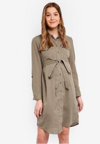 Dorothy Perkins green Maternity Khaki Linen Shirt Dress C5258AAAF165A9GS_1