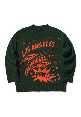 LOS ANGELES PROJECT -FASHION green Graphic intarsia knit sweater. EA134AAC76413EGS_1