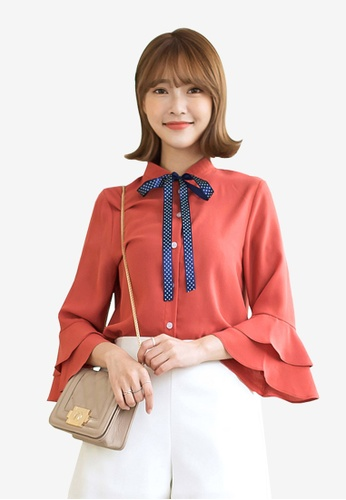 Tokichoi red Ribbon Detail Ruffled Shirt 3EEA7AA7FA2879GS_1