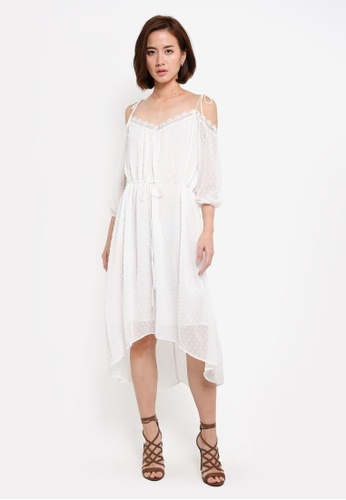 ZALORA white Collection Cold Shoulder Drawstring Dress A6192AAFE336F2GS_1