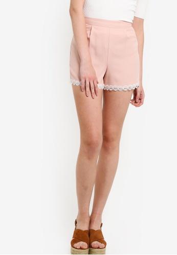 Miss Selfridge pink Petite Lace Hem Shorts MI665AA65UPEMY_1