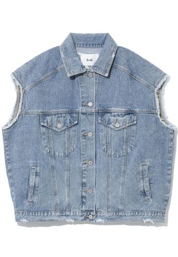 b+ab blue Frayed denim vest 63B91AA060002BGS_1