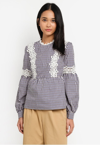 TOPSHOP navy Lace Trim Gingham Blouse 4477CAAB3B52ABGS_1