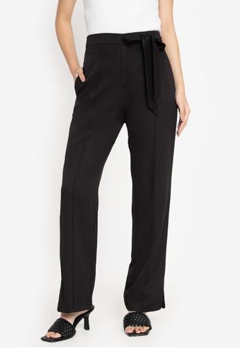 ZALORA WORK black Side Tie Straight Leg Pants 53AD3AAC536E1BGS_1