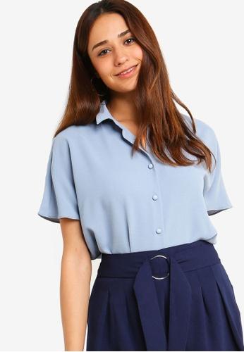 ZALORA blue Extended Sleeves Shirt 7399BAA4A2B8B0GS_1