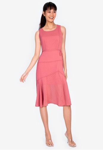 ZALORA BASICS pink Textured Chiffon Midi Dress with Slit 30EEBAA854ED8DGS_1