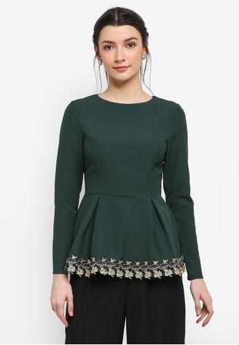 Zalia green Lace Trim Peplum Tops 795F0AA07FAEA7GS_1