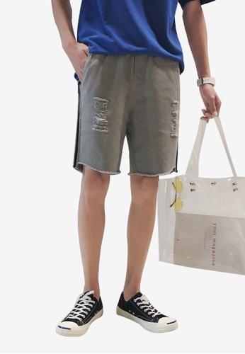 hk-ehunter 灰色 男士側條紋磨破設計短褲 58B6CAA4DB656AGS_1