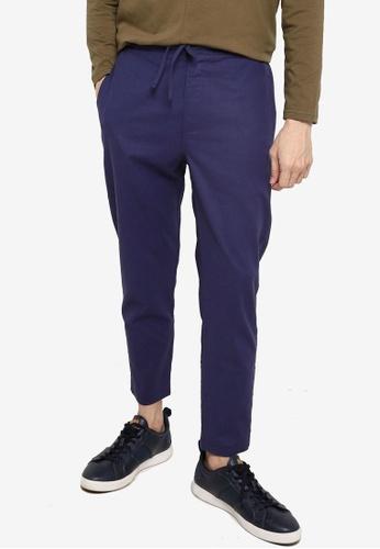 ZALORA BASICS navy Linen Trousers E0F0BAAEE9E69CGS_1