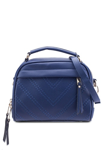 Bagstationz blue Bagstationz Quilted Convertible Satchel With Top Handle BA607AC83KJGMY_1