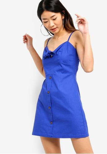 Something Borrowed 藍色 V領綁帶洋裝 519B5AA52F9BB0GS_1