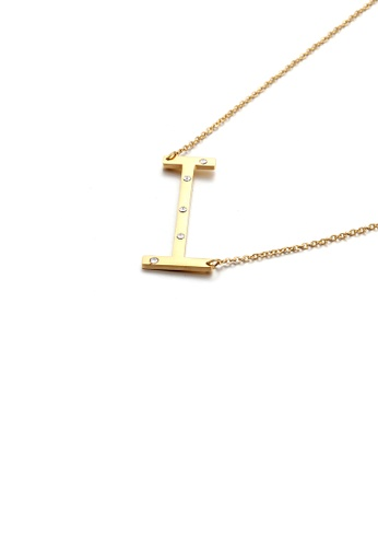 Glamorousky white Simple Personality Plated Gold English Alphabet I 316L Stainless Steel Pendant with Cubic Zirconia and Necklace 0A19EACBF6E65FGS_1