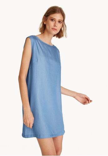 Pomelo blue Mini Sleeveless Satin Denim Dress EC7FCAA30FF87EGS_1